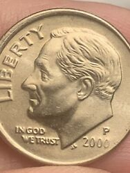 2000 P Roosevelt Dime Double Died Liberty Off Centered High Rim Error