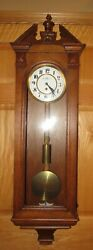 Antique Austrian One Weight Vienna Time Wall Clock 8-day - Rare