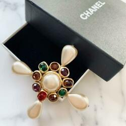 Brooches Pins Brooch Gripoix Rhinestone Pearl Multicolor White Gold
