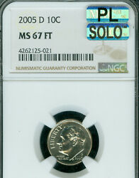 2005-d Roosevelt Dime Ngc Mac Ms67 Ft Pq Mac Pl Solo Finest And Spotless .