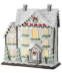 13.5 Gingerbread Mansion White W/ Red Christmas Village House With Light Timer