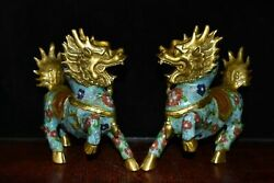 8 Pair Antique Old China Bronze Gilt Cloisonne Kylin Statue Asian Collections