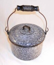 Antique Agateware Mottled Gray Lidded Berry Bucket Wire Handle Turned Wood Grip
