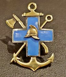 Imperial Russia Badge Of Society Of The Blue Cross Gold And Silver Hallmarked