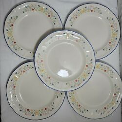 Brick Oven Stoneware Heritage Birds And Flowers Plates 5 In Total