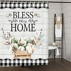 Farmhouse Shower Curtain Cotton Flower On Country Rustic Gray Wooden Plank 70in