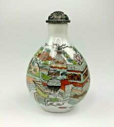 Collectible Chinese Copper Cover Porcelain Hand Painted Exquisite Snuff Bottle