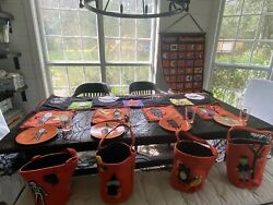 Pottery Barn Kids Halloween Lot Rare Table Runner Placemats Plates Cups Totes