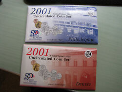 2001 Us Mint Uncirculated Coin Set P And D, Original Packaging Great Condition