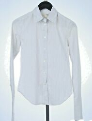 ELIZABETH amp; JAMES WHITE FITTED BLUE PINSTRIPE LONG CUFF SHIRT SIZE XS $24.95