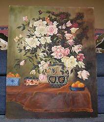 Still Life White Pink Roses Peaches Oranges Fruit Garden Victorian Oil Painting