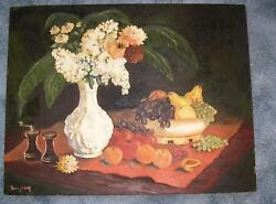 Vintage Still Life Painting White Lilacs Milk Glass Vase Grapes Apples Painting