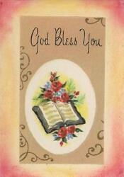 Aceo God Bless You Bible Roses God Vintage 1950and039s Print On 1803 Paper Pastel Art