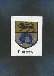 Antique Dunkerque France Lion Dolphin Print Aceo On New Black Paper Coat Of Arms