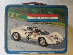 Tin / Metal Lunchbox. Vintage. Auto Race With Thermos. Old Tins. Collectibles