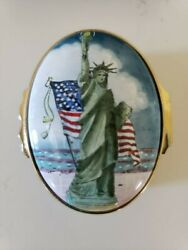 Halcyon Days Enamel Music Box - Statue Of Liberty W/ Twin Towers By And Co