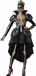 Skeleton Queen Adult Womens Dress Crown Tights Costume New