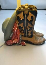 Table Light Western Boots Hat Lamp With Shade - Vintage Heavy Ceramic Glass