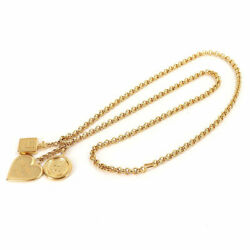 Icon Charm Long Heart Medal Necklace Gold 95a Perfume Vintage Accessory