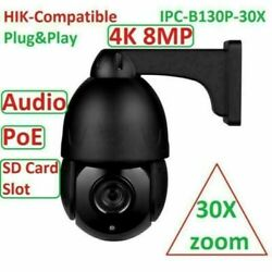 4k 8mp 30x Zoom Ptz Hikvision Compatible Poe Speed Dome Security Ip Camera Mic