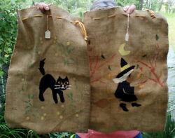 Vintage / Antique Halloween Burlap Candy Bags Cat Witch Painted And Felt Art