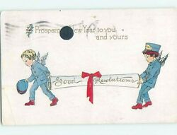 Pre Linen new year CUPID MESSENGER BOYS DELIVER GOOD RESOLUTIONS SCROLL HL1403 C $2.47