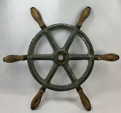 Antique 15.5andrdquo 6 Handle Nautical Wooden And Cast Iron Ships Boat Steering Wheel