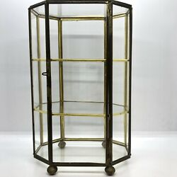Glass And Brass Display Case Figurine Holder Excellent Condition 8.5andrdquo Tall