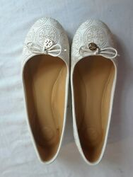 Tory Burch Chelsea Stitched Logo Nude Leather Ballet Flat Shoes Size 9 $34.99