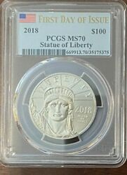 2018 W 100 Platinum Statue Of Liberty Ms70 2 Coins