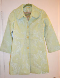 Anthropologie Lithe Pale Green Tapestry Coat Jacket Size 10