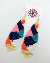 Native American Style Seed Bead Earrings Summer Desert Design Free Shipping New