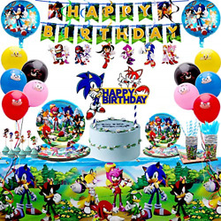 Habbipet 180 pcs Sonic Birthday Party Supplies for Kids Sonic Hedgehog Party for $37.39