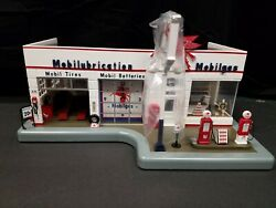 Mobil Service Station Clock Lighted Vintage Mobil Pegasus Gas Pumps New In Box