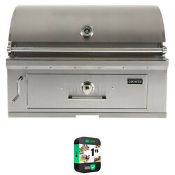Coyote C1ch36 36 Charcoal Outdoor Built-in Grill W/ Warranty Bundle