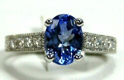 Rare Tanzanite Ring Filigree 18k White Gold Solitaire Gia Inspected Aaaa 5494