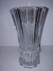 Tall Heavy Leaded Clear Crystal Elegant Fluted Pleated Style Vase