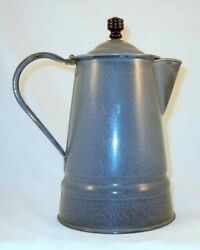 Antique Agateware Graniteware Lidded Coffee Pot Or Water Pitcher W/ Wood Finial