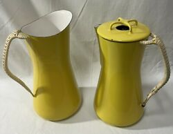 Vintage Dansk Yellow Enamelware Pitcher And Coffee Pot