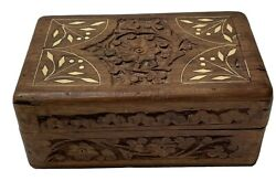 Antique Wooden Handmade Top Inlaid Jewelry Box Container India Made Rare