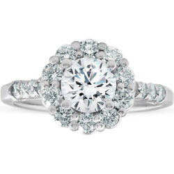 H/si 2.75ct Tdw Halo Round Solitaire Diamond Engagement Ring White Gold Enhanced