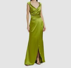 2295 Talbot Ronhof Womenand039s Green Cap Sleeve Ruched V-neck Gown Dress Us Size 2