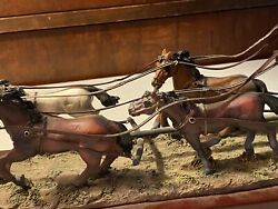Worth Point. Stage Coach With Horses Statue Antique