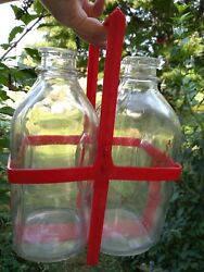 Avalong Farms York Pa Lot 2 Vintage Milk Bottles 1/2 Gal And Red Plastic Holder