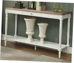 French Country Console With Drawer And Shelf Driftwood / White Table