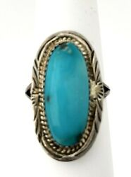 Native Navajo High-grade Turquoise Sterling Silver Ring Big Size 12 Signed By
