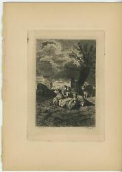 Antique Animals Sheep Spring Storm Stormy Skies Weather Nature Old Etching Print
