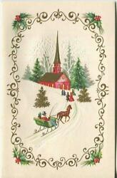 Vintage Christmas Gold Red Church Snow Sleigh Ride Horse Evergreen Greeting Card