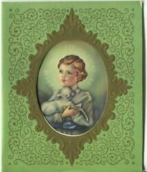 Vintage Christmas Cameo Of Jesus Christ As A Boy Holding Lamb Mcm Greeting Card