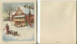 Vintage Christmas Wood Stone Inn Victorian Bed And Breakfast Horse Carriage Card